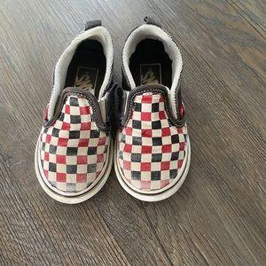 Red, black, white check toddler vans size 7